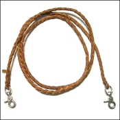 Braided leather roping rein