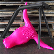 pink steer head and steel roping stand
